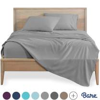 Bare Home California King Sheet Set - 1800 Ultra-Soft Microfiber Bed Sheets - Double Brushed Breathable Bedding - Hypoallergenic – Wrinkle Resistant - Deep Pocket (Cal King, Light Grey)