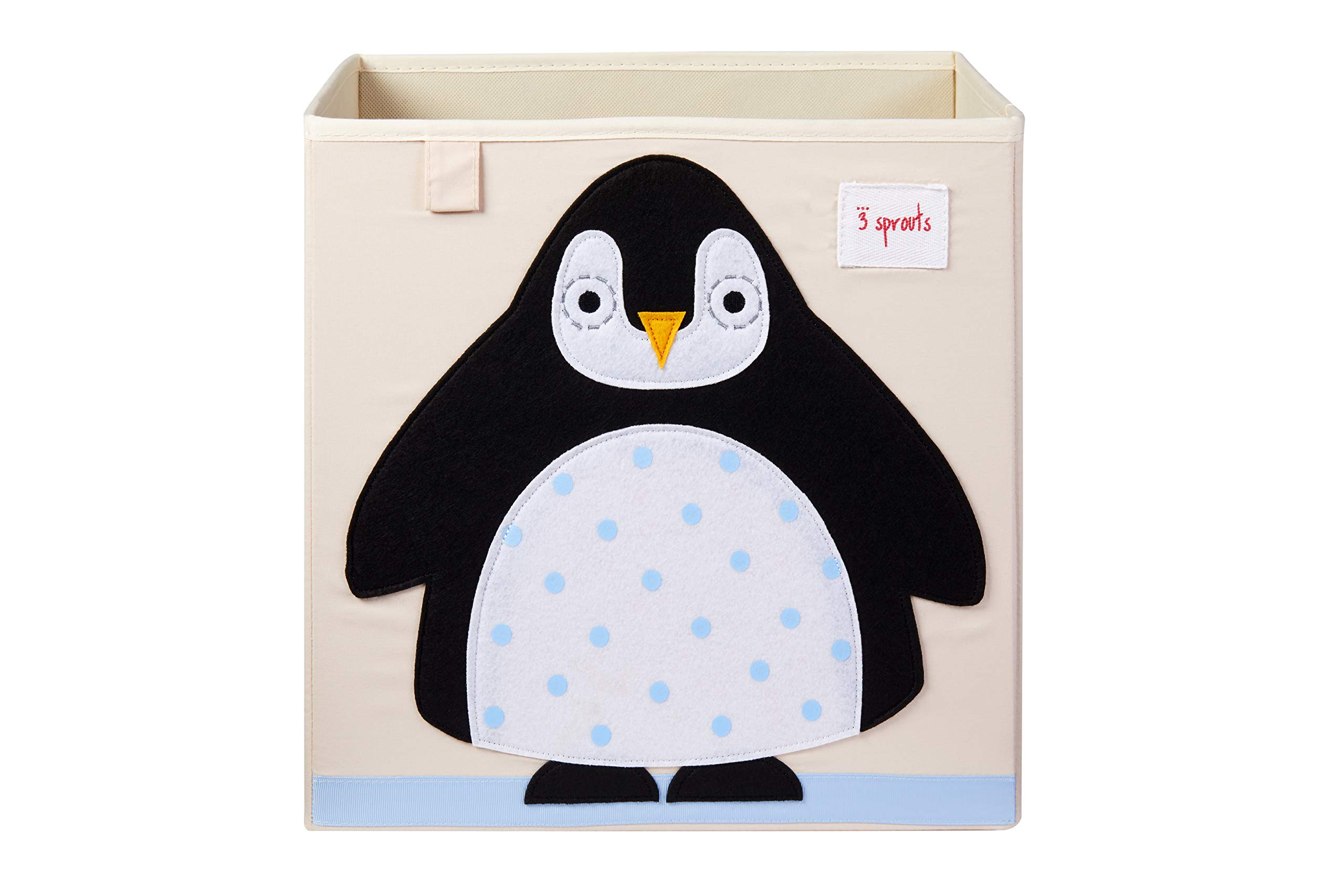 3 Sprouts Cube Storage Box - Organizer Container for Kids & Toddlers, Penguin