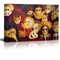 """Canvas Prints Wall Art - Colorful Ornate Traditional Venetian Masks in Oil Painting Style 