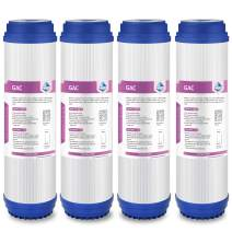 """Membrane Solutions Granular Activated Carbon Water Filter Cartridge Sediment GAC Water Filter Replacement, Universal 10""""x 2.5"""" Under Sink & Reverse Osmosis System, 10 Micron - 4 Pack"""
