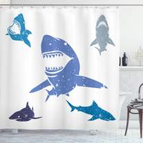 """Ambesonne Shark Shower Curtain, Grunge Style Big and Small Sharks with Open Mouths Predator Jaws Dangerous Image, Cloth Fabric Bathroom Decor Set with Hooks, 84"""" Long Extra, Blue"""