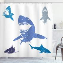 """Ambesonne Shark Shower Curtain, Grunge Style Big and Small Sharks with Open Mouths Predator Jaws Dangerous Image, Cloth Fabric Bathroom Decor Set with Hooks, 70"""" Long, Blue"""