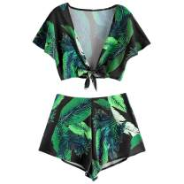 ZAFUL Women's Leaf Print Two Piece Tie Knot Front Crop Top and Shorts Set