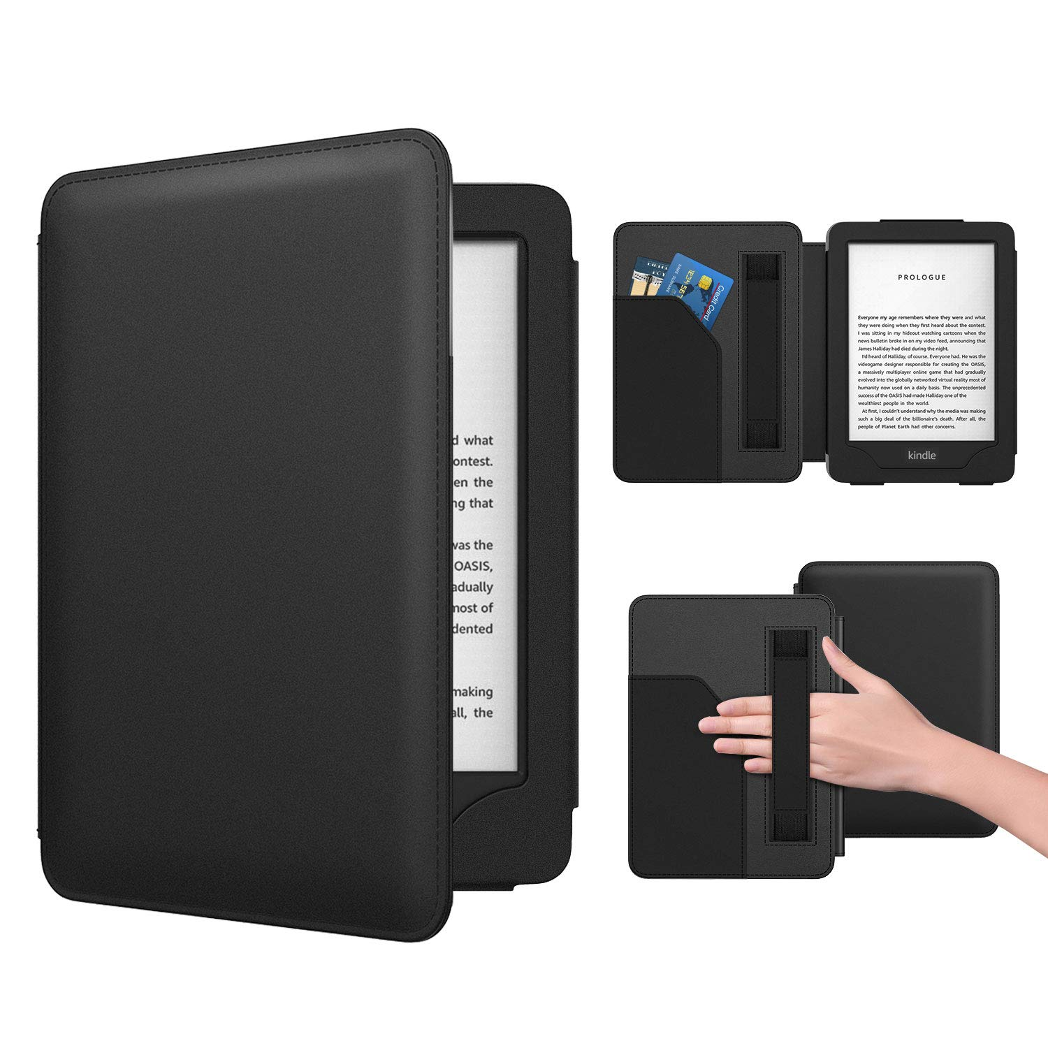Dadanism Case Compatible with All-New Kindle 10th Gen 2019, Ultra Slim PU Leather Smart Cover with Hand Strap & Pocket Fit Amazon E-Reader 2019, Not Fit Kindle Paperwhite – Black (Auto Sleep/Wake)
