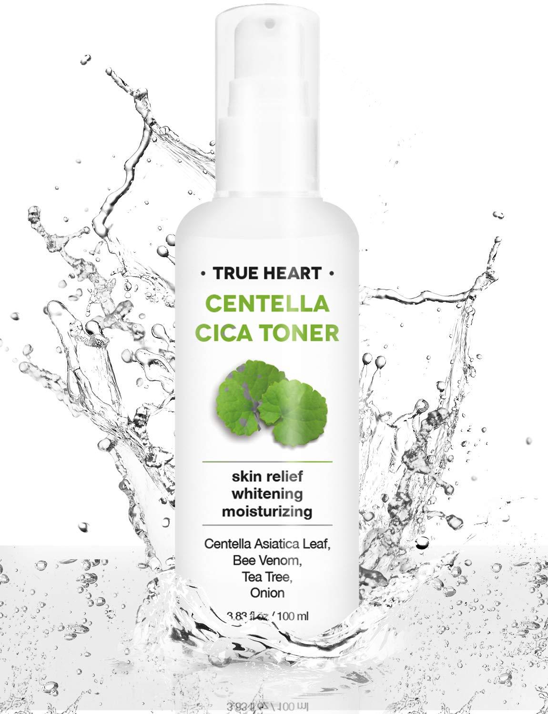 True Heart Cica Toner, Moisturizing Facial Toner, Alcohol Free Toner for Dry and Sensitive Skin with Panthenol(Vitamin B), Niacinamide, Green Tea, Tea Tree and Madecassoside 3.83fl oz/100