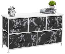 Sorbus Dresser with Drawers - Furniture Storage Chest Tower Unit for Bedroom, Hallway, Closet, Office Organization - Steel Frame, Wood Top, Marble Pattern Fabric Bins (Marble Black – White Frame)