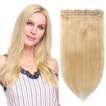 """Clip in hair extensions human hair one piece human hair extensions 5 clips 100% Remy Human Hair Straight Natural Blonde 18""""(45cm) - 50g"""