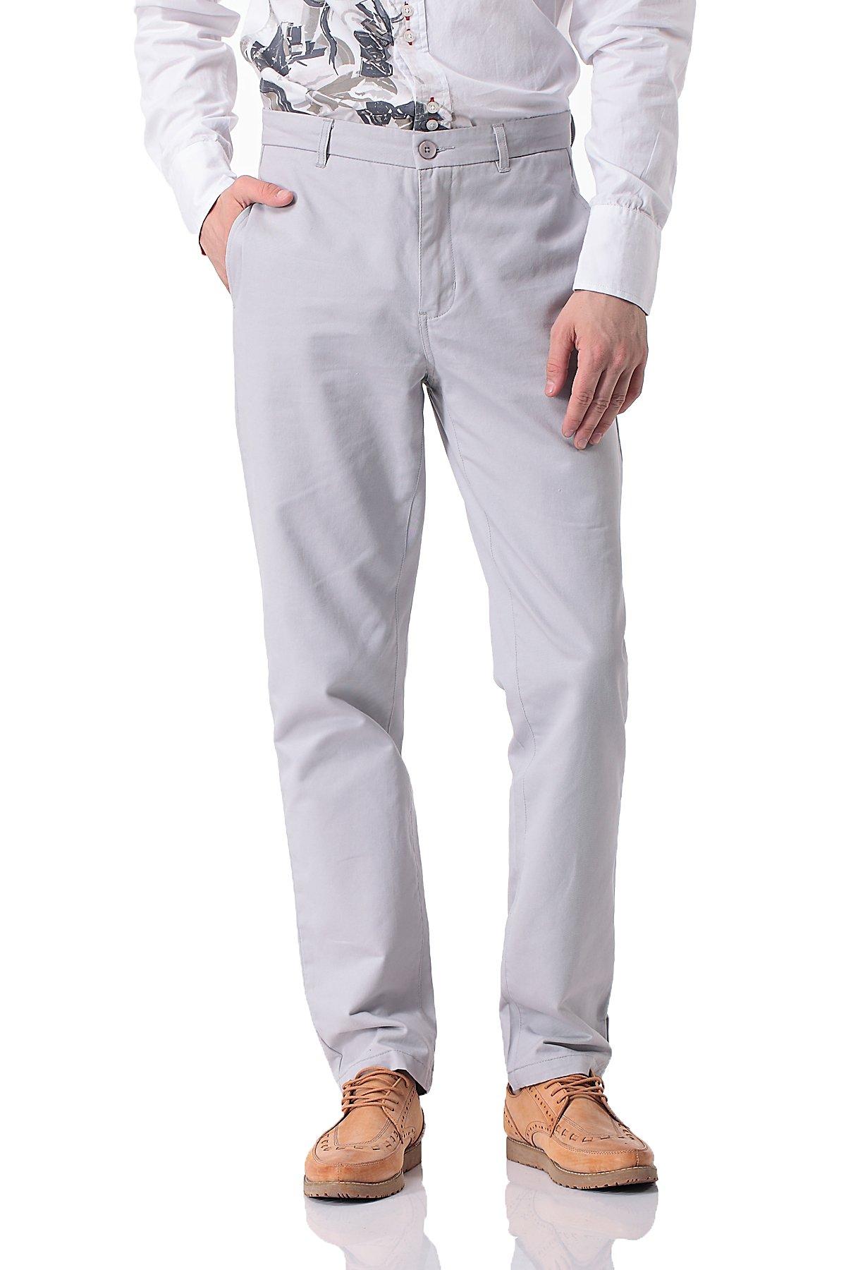 Pau1Hami1ton Men's Casual Straight Leg Chino Khaki Pants PH-14(36,White)