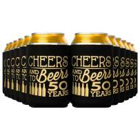 Crisky 50th Birthday Beer Sleeve,Cheers and Beers to 50 Years Birthday Decoration Party Favor Can Covers, 12-Ounce Neoprene Coolers for Soda, Beer, Can Beverage, 24 Pcs