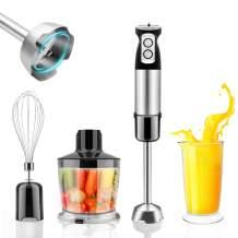 Immersion Hand Blender, All-in-1 Electric Puree Blender Handheld, Stick Blender Soup, Baking, Smoothies and Drinking, 600W Hand Blender Multi-Speed Immersion Blenders Shaft Detachable