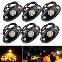 LEDMIRCY LED Rock Lights Amber Kit for JEEP Off Road Truck ATV SUV Car Boat High Power Underbody Glow Neon Trail Rig Lights Underglow Lights Waterproof Shockproof(Pack of 6,Amber)