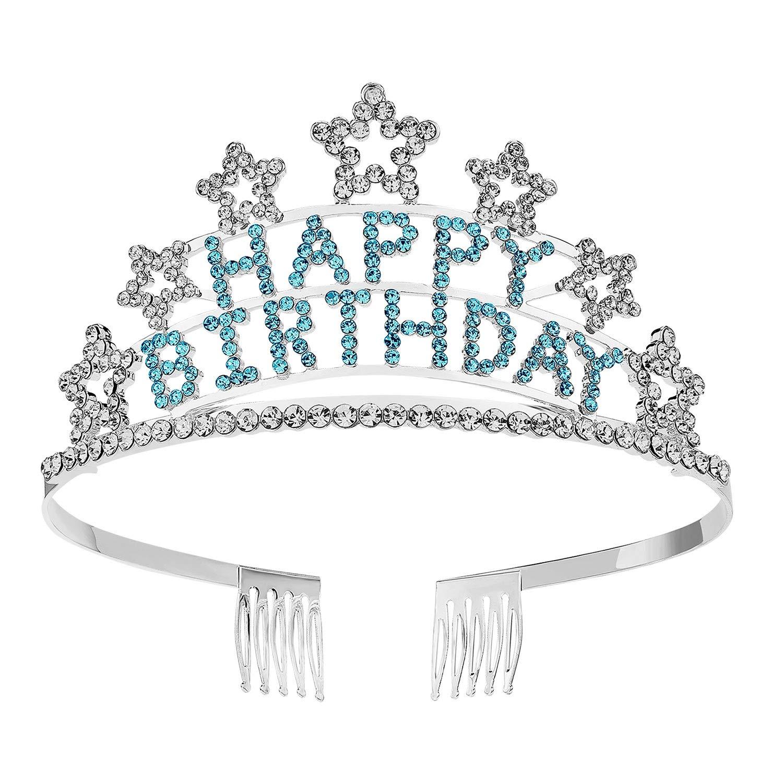 SWEETV Crystal Birthday Tiara Rhinestone Princess Crown Happy Birthday Crowns, Blue