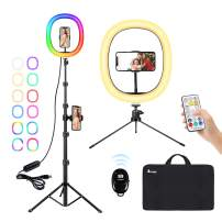 """12"""" RGB Selfie Ring Light with Tripod Stands, A-TION 26 Colors LED Ring Light with Remote & 2 Phone Holders, Upgraded RGB Ring Light Kit for Live Streaming/Makeup/YouTube/TikTok/Video/Photography"""