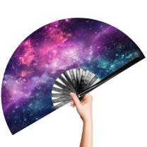 OMyTea Large Bamboo Rave Festival Folding Hand Fan for Men/Women - Chinese Japanese Handheld Fan with Fabric Case - for Electronic Dance Music Party, Performance, Decorations, Gift (Galaxy)