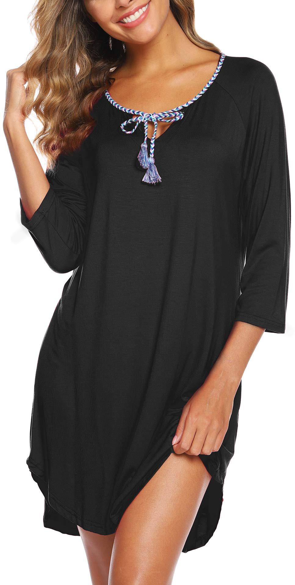 ZEGOLO Womens Maternity Nightgown Dress 3/4 Sleeve Nursing Pregnancy Loungewear Sleep Dress