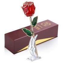 Sinvitron 24K Gold Dipped Rose, Real Rose 24K Gold Plates, Forever Preserved Rose, Anniversary Wedding Valentines Day Birthday Romantic Gifts for Her Wife Girlfriend with Stand & Gift Box (Red)