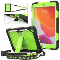 HXCASEAC iPad 7th Generation 10.2 Case, iPad 10.2 Case 2019,Full-Body Shockproof Drop Protective Case with Stand [Pencil Holder] &[Shoulder Strap] for iPad 7th Generation10.2 Inch(Green+Clear)