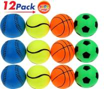 "Rubber Bouncy Ball Sports Style (Pack of 12) 2.5"" Hi Bounce Same Like Pinky Balls for Play or Massage Therapy. Plus 1 Small JA-RU Ball. # 986-12p"
