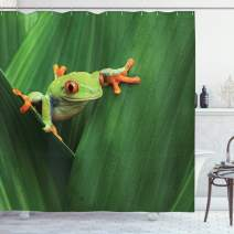 "Ambesonne Animal Shower Curtain, Red Eyed Frog Between Exotic Macro Big Leaves Wild Nature Night Animal Vivid Colors, Cloth Fabric Bathroom Decor Set with Hooks, 84"" Long Extra, Green"