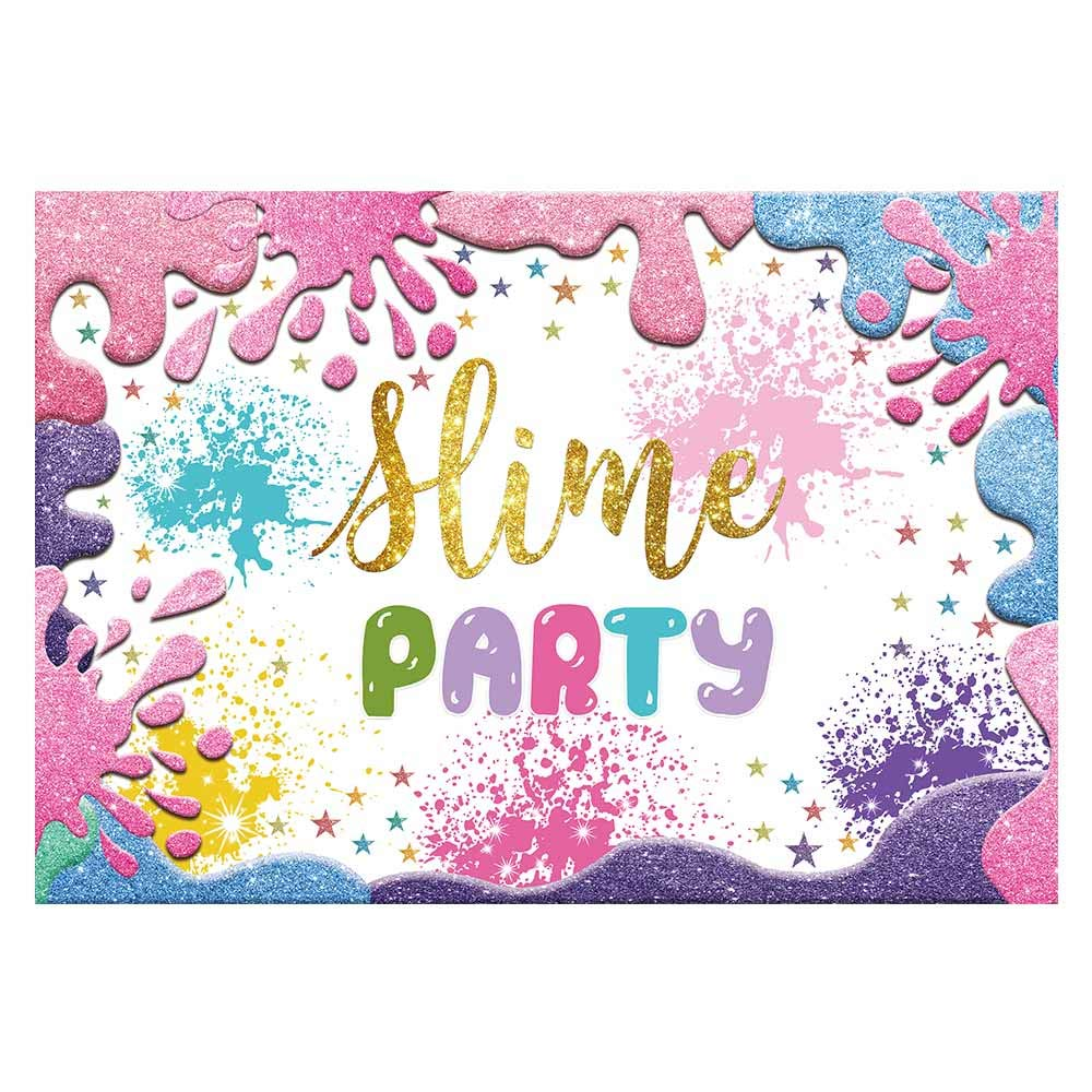 Funnytree 7x5ft Slime Theme Party Backdrop Glitter Colorful Splatter Girl Baby Shower Birthday Photography Background Summer Graffiti Painting Banner Cake Table Decorations Photo Booth Props