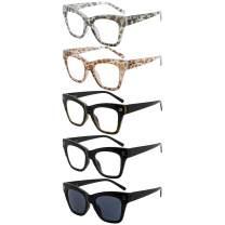 Eyekepper 5-Pack Oversize Reading Glasses for Women Large Frame Readers