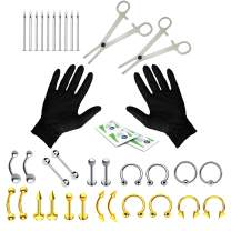 BodyJ4You 36PC Professional Piercing Kit Surgical Steel 14G 16G Belly Ring Tongue Tragus Nipple Nose