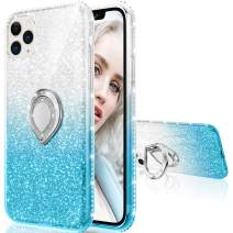 Maxdara Glitter Case for iPhone 11 Pro Max Case Girls Women Case with Ring Kickstand Bling Sparkle Diamond RhinestoneStand Holder Pretty Case for iPhone 11 Pro Max 6.5 inches(Silver Teal)