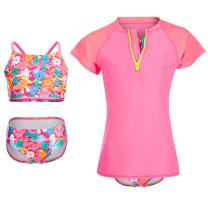 DAYU Girl's UPF 50+ Rash Guard 3-Piece Swimsuit Set