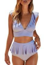 Aleumdr Women V Neck High Waist Bikini Set Ruffled Two Piece Swimsuits