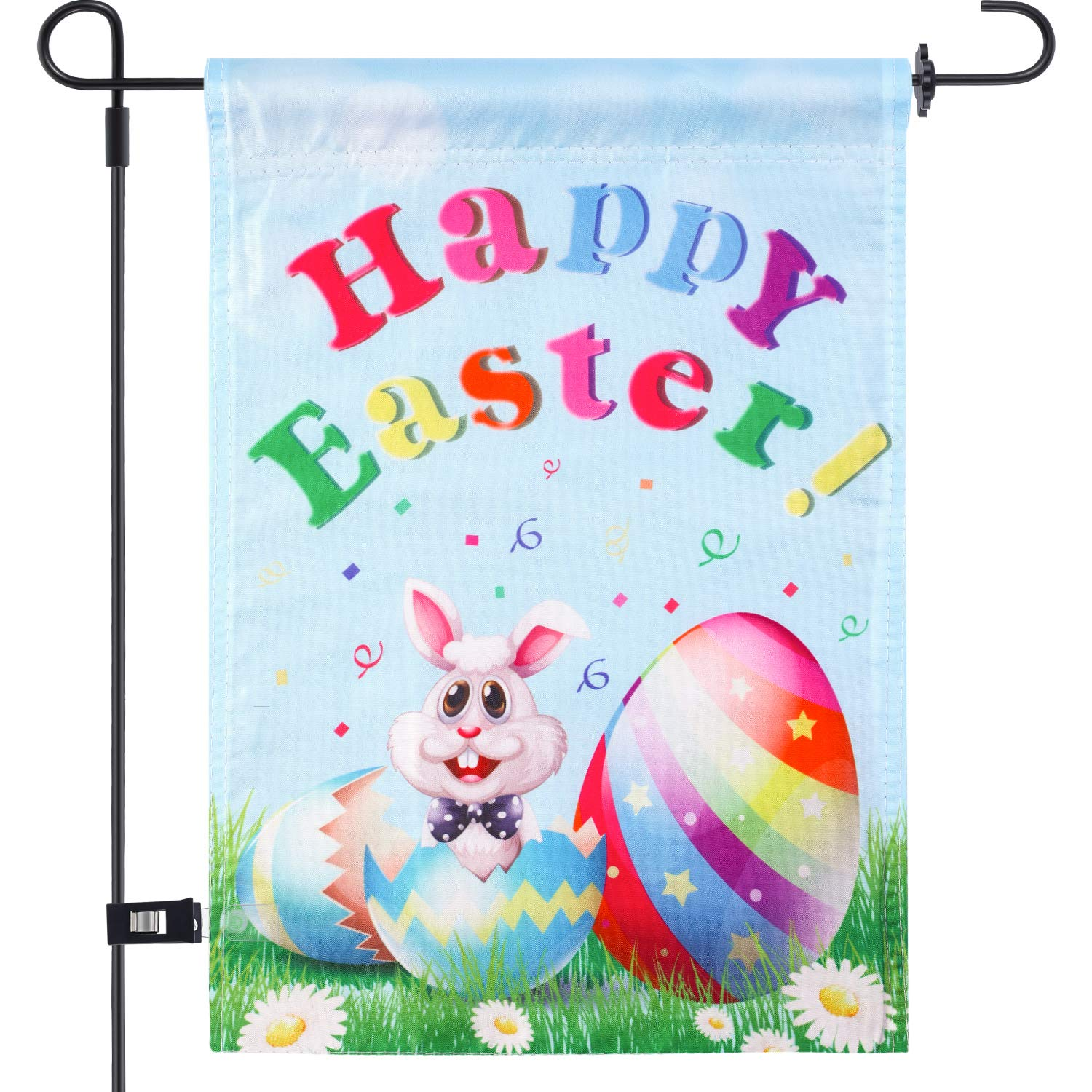 Chuangdi Egg and Rabbit Garden Flag 12 x 18 Inch Decorative Easter Flag Spring Garden Flag with 1 Rubber Stopper and 1 Clear Anti-Wind Clip (Color 5, 12 x 18 Inch)
