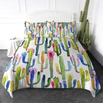 ARIGHTEX Botanical Duvet Cover Set Cactus Pattern Bedding Set Cute Cactus Watercolor Print Comforter Cover 3 Pieces Cute Bedspread Coverlet Bed Cover (King)