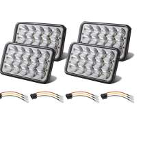 Partsam 4x6 LED Headlights 6x4 Bulb Sealed Beam H4656 Rectangular H4651 H4652 H4656 H4666 H6545 Compatible with Peterbilt 379 378, Kenworth KW 900, Chevy Express Van RV w/ H4 9003 Wire Harness (4PCS)