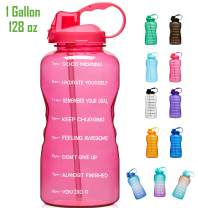 Giotto Large 1 Gallon/128oz Motivational Water Bottle with Time Marker & Straw, Leakproof Tritan BPA Free for Fitness, Gym and Outdoor Sports