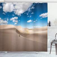 "Lunarable Wilderness Shower Curtain, Panorama of Desert Landscape with Sand Dunes National Park Colorado, Cloth Fabric Bathroom Decor Set with Hooks, 75"" Long, Blue"