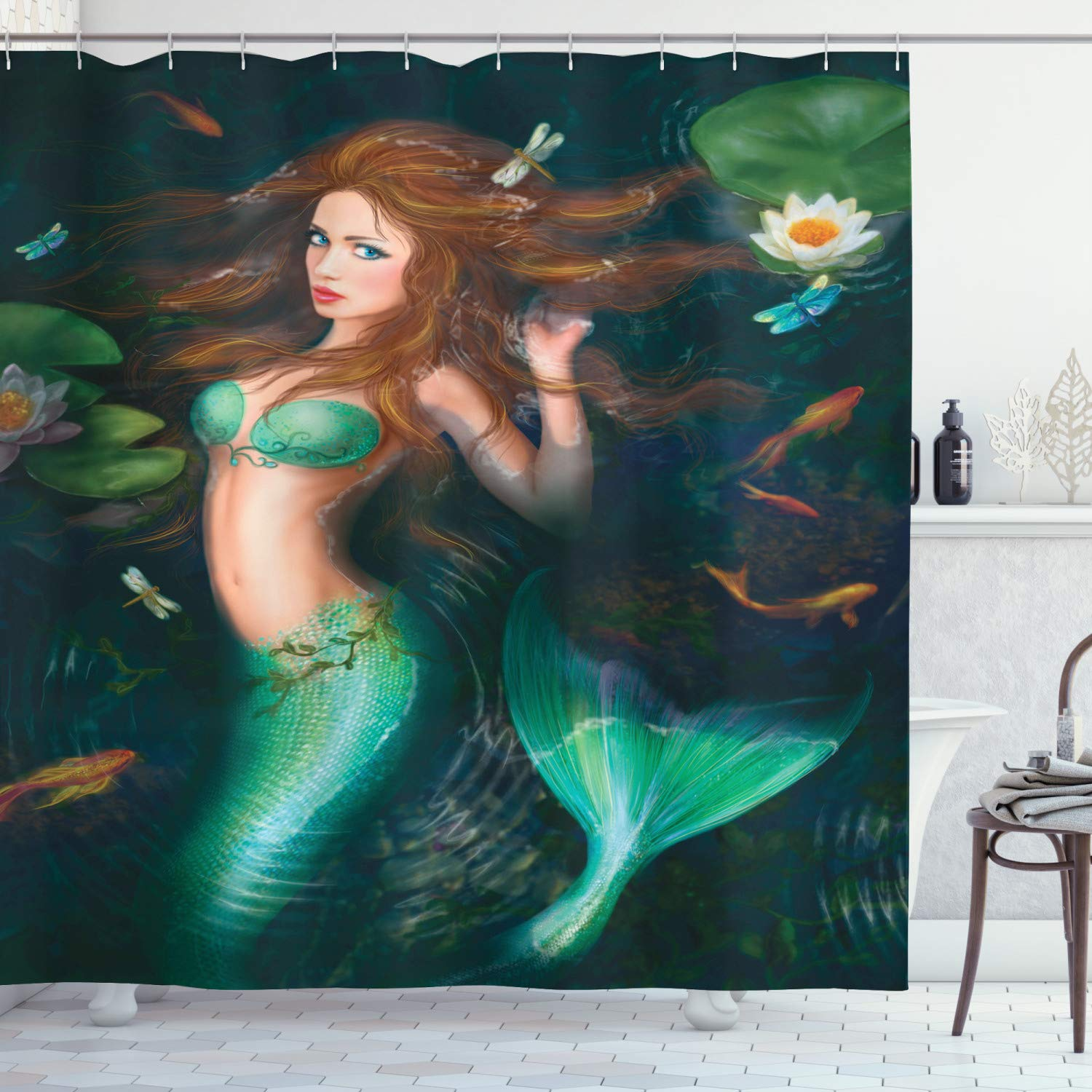 """Ambesonne Underwater Shower Curtain, Fantasy Mermaid in Lake with Lilies Blossom Plants Leaves, Cloth Fabric Bathroom Decor Set with Hooks, 75"""" Long, Green Aqua"""