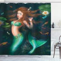 """Ambesonne Underwater Shower Curtain, Fantasy Mermaid in Lake with Lilies Blossom Plants Leaves, Cloth Fabric Bathroom Decor Set with Hooks, 84"""" Long Extra, Green Aqua"""