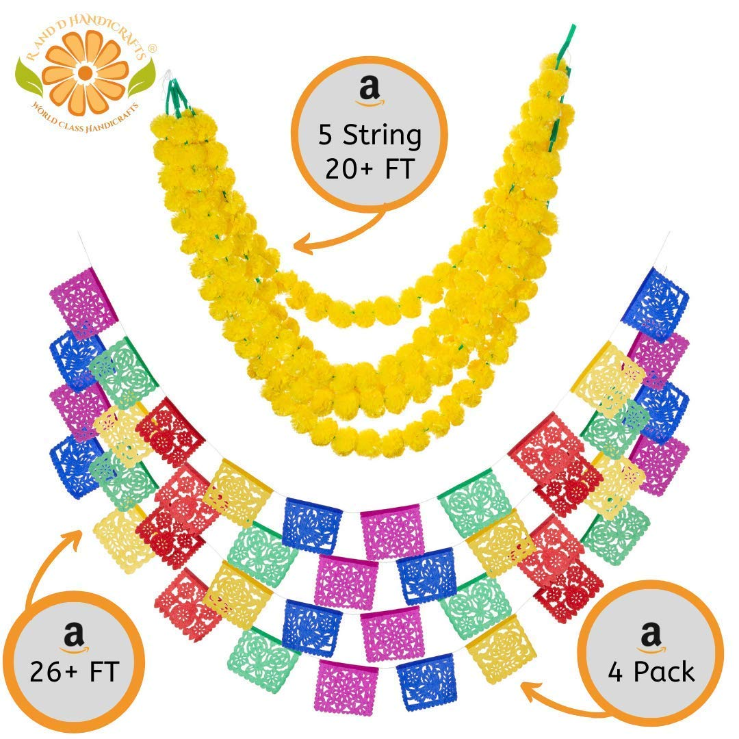 R and D Handicrafts 5 String Marigold Garland Cempasuchil Pack Plus 4 Packs Authentic Mexican Banner Paper Papel Picado Fiesta Decoration 40 Multi Colored Panels (Yellow)