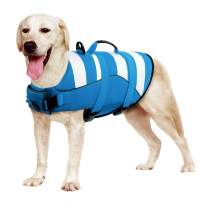 Phyxin Dog Life Jacket, Adjustable Dog Life Vest for Swimming, Striped Puppy Life Jacket, Pet Life Preserver with Leash Hole, for Small Medium Large Dogs