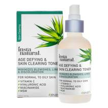 Vitamin C Skin Clearing Face Toner - Natural & Organic Anti Aging Formula with Salicylic Acid & Hyaluronic Acid - Helps Wrinkle, Dark Spot, Fine Lines - Safe for Sensitive Skin - InstaNatural - 4 oz