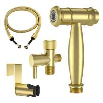 WiPPhs Cloth Diaper Sprayer for Toilet, Brushed Gold Premium Stainless Steel Hand Held Bidet Sprayer Attachment with Jet/Soft Water Flow, Shattaf Toilet Sprayer Shower with Hose, Toilet or Wall Mount