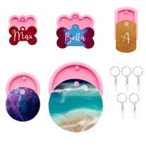 5 Pieces Dog Bone Shaped Resin Tag Molds, Round Dogs Tags Silicone Keychain Mold Set with 5 Pcs Key Rings, Non-Stick Keychains Epoxy Mould with Hole for DIY Making Crafts Topper Decoration Pendant