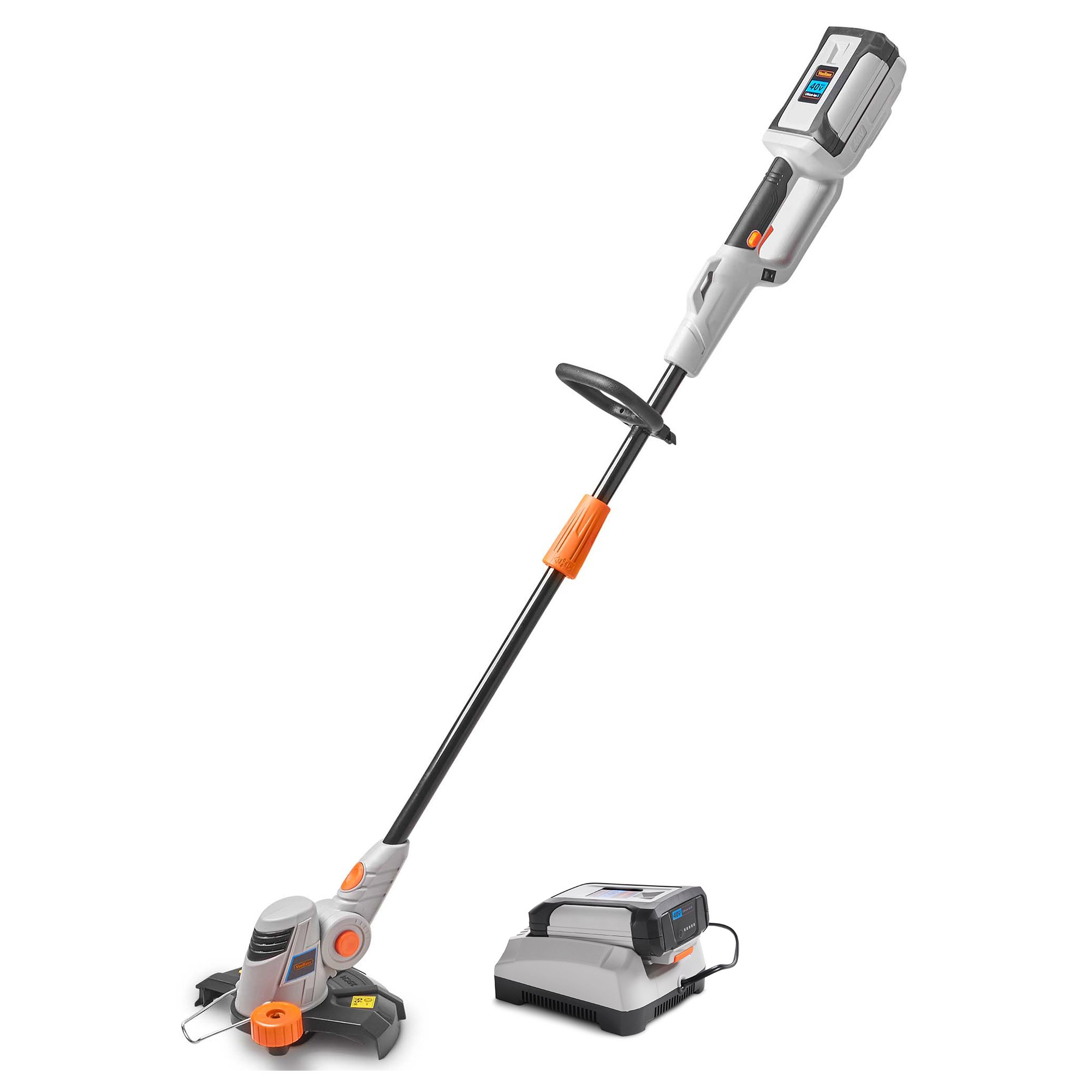 VonHaus 40V Max Cordless Easy Feed String Trimmer/Edger with Angle Adjustment and Head Rotation 2.0Ah Lithium-ion Battery and Charger