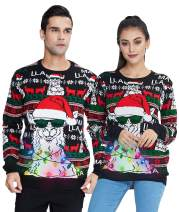 Idgreatim Women Men Ugly LED Christmas Sweater Novelty Light-up Xmas Knitted Jumper Long Sleeve Pullover for Party(12 Light)