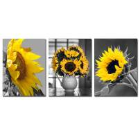 Black Yellow Sunflower Canvas Painting - Yellow Flowers Wall Pictures for Living Room 3 Panels Wall Art Posters and Prints Home Office Decoration Floral Bedroom Kitchen Decor 12x16x3 unframed