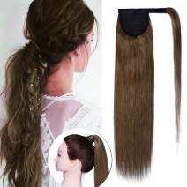 SEGO Ponytail Extension Human Hair Pony Tails Hair Extensions Wrap Around Ponytail Hair Extensions 100% Real Remy Hair With Magic Paste Long Straight For Women #06 Light Brown 20 Inch 95g
