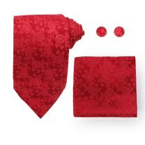 Y&G Men's Fashion Various of Colors Paisley Necktie Cufflinks Hanky Great Gift Silk Tie 3PT