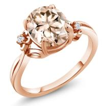 Gem Stone King Peach Morganite 18K Rose Gold Plated Silver Ring (2.73 Ct Oval Available in size 5, 6, 7, 8, 9)