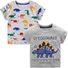 VASCHY T-Shirts for Little Boys, Kids Size 2-6T Boys Pattern Cotton Short Sleeve Tee Shirts for Kids Toddlers 2pcs Set