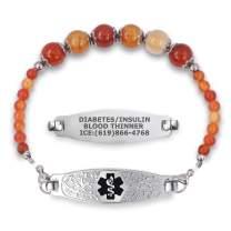 Divoti Custom Engraved Slip-on Medical Alert Bracelets for Women, Beaded Medical Bracelet, Stretch Medical Alert Bracelet Stainless Steel/Free Engraving–Olive Tag & Various Bead– Color/Size