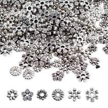 PH PandaHall 300pcs 6 Style Snowflake Spacer Beads, Antique Silver Tibetan Alloy Flower Metal Spacers for Bracelet Necklace Jewelry Making Supplies
